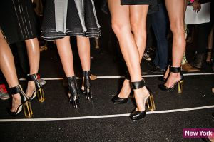amazing gold-heeled shoes from herve leger.